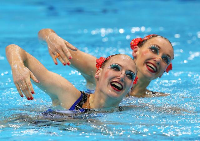 LONDON, ENGLAND - AUGUST 06: Gagnon Boudreau and Elise Marcotte of Canada compete in the Women's Duets Synchronised Swimming Free Routine Preliminary on Day 10 of the London 2012 Olympic Games at the Aquatics Centre on August 6, 2012 in London, England. (Photo by Clive Rose/Getty Images)