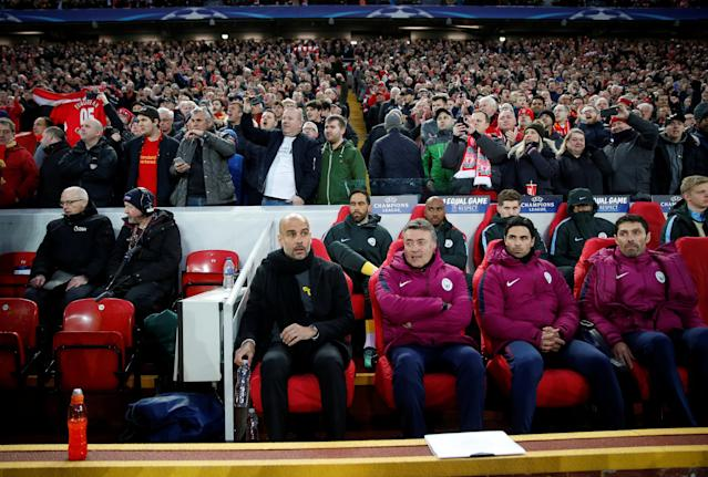 <p>Soccer Football – Champions League Quarter Final First Leg – Liverpool vs Manchester City – Anfield, Liverpool, Britain – April 4, 2018 Manchester City manager Pep Guardiola on the bench in front of Liverpool fans Action Images via Reuters/Carl Recine </p>