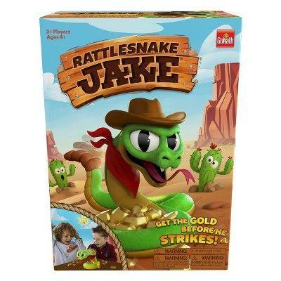 """<p><strong>Goliath</strong></p><p>target.com</p><p><strong>$19.99</strong></p><p><a href=""""https://www.target.com/p/goliath-rattlesnake-jake-game/-/A-79396348"""" rel=""""nofollow noopener"""" target=""""_blank"""" data-ylk=""""slk:Shop Now"""" class=""""link rapid-noclick-resp"""">Shop Now</a></p><p> Rattlesnake Jake is coiled around a pile of gold nuggets, and players have to try to snatch each piece away from him. But watch out: <strong>His rattle gets more intense, and then he strikes and takes his gold back! </strong>Parents said their families loved the suspense of the game and how everyone jumped with surprise when Jake struck. <em>Ages 4+</em></p>"""