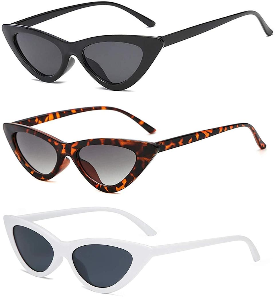 <p>Level up your sunglass game with these flattering <span>YOSHYA Retro Vintage Narrow Cat Eye Sunglasses</span> ($15 for three). This set comes with a black pair, a tortoise shell pair, and a white pair so you can look fierce in any outfit.</p>