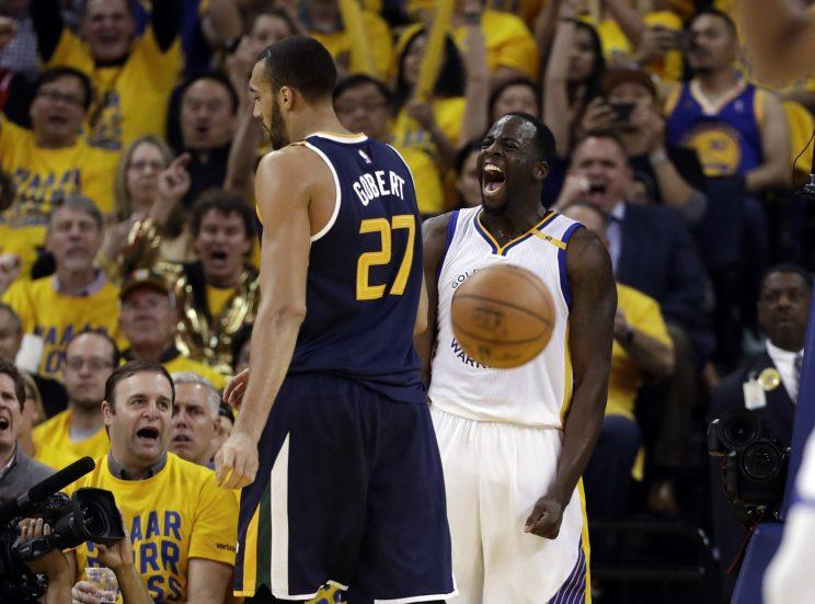 Draymond Green might have just let Rudy Gobert know he got more First Team All-Defensive votes. (AP)