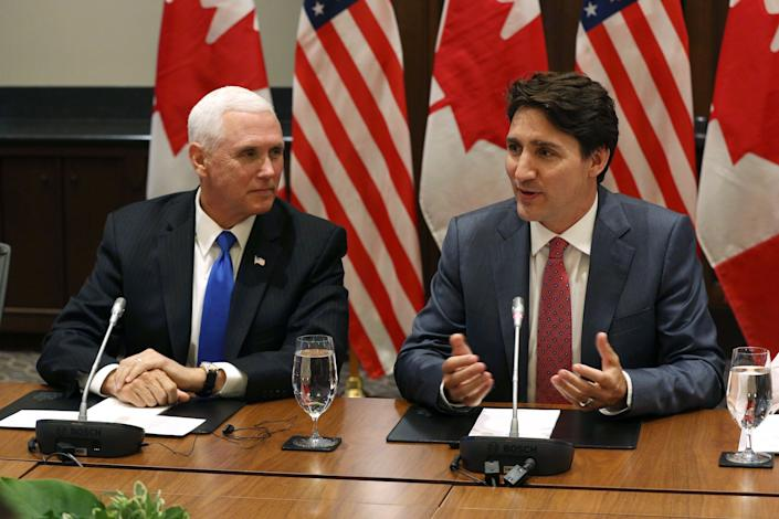 Vice President Mike Pence and Canadian Prime Minister Justin Trudeau attend a meeting with the Canadian Council for the U.S.-Mexico-Canada Agreement in Ottawa, Ontario, on May 30, 2019. (Photo: Lars Hagberg/AFP/Getty Images)
