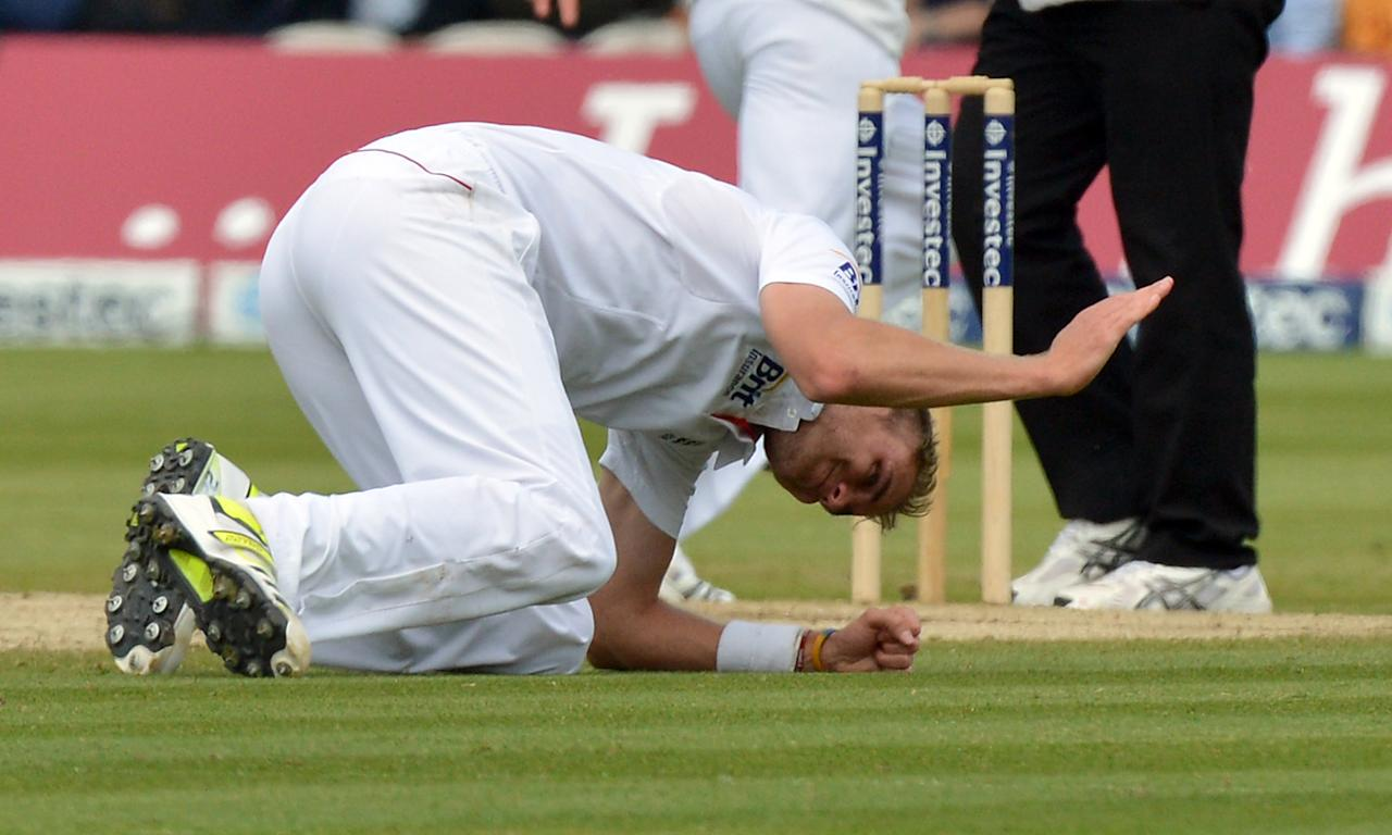 England's Stuart Broad strikes the ground in frustration during the first test at Lord's Cricket Ground, London.
