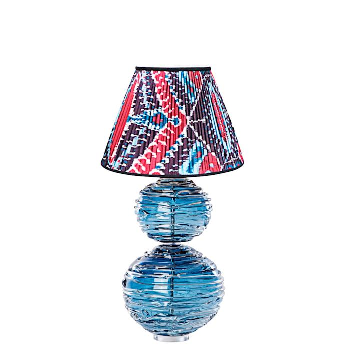 """<div class=""""caption""""> Alfie table lamp by William Yeoward with ikat lampshade by Slightly East; $2,995 (shade not included). <a href=""""https://krbnyc.com/"""" rel=""""nofollow noopener"""" target=""""_blank"""" data-ylk=""""slk:krbnyc.com"""" class=""""link rapid-noclick-resp""""><em>krbnyc.com</em></a> </div> <cite class=""""credit"""">Photo: Courtesy of KRB</cite>"""