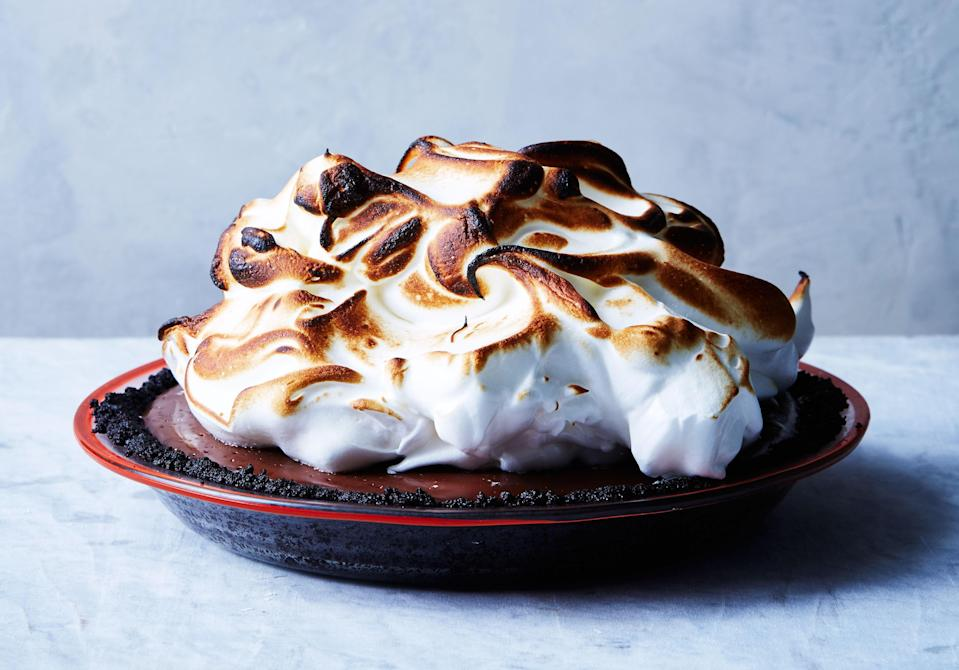 """The swirly meringue topping on this chocolate cream pie recipe is stable enough to make a day ahead and keep chilled—even if you've brûléed it. <a href=""""https://www.bonappetit.com/recipe/no-bake-chocolate-cream-pie-with-toasted-meringue?mbid=synd_yahoo_rss"""" rel=""""nofollow noopener"""" target=""""_blank"""" data-ylk=""""slk:See recipe."""" class=""""link rapid-noclick-resp"""">See recipe.</a>"""