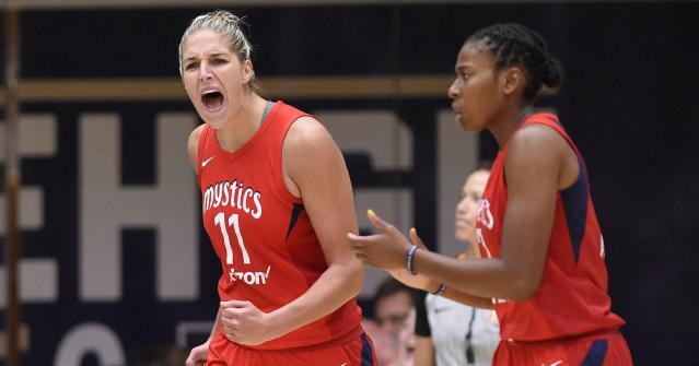 """The <a class=""""link rapid-noclick-resp"""" href=""""/wnba/teams/was"""" data-ylk=""""slk:Washington Mystics"""">Washington Mystics</a> knocked off the <a class=""""link rapid-noclick-resp"""" href=""""/wnba/teams/atl"""" data-ylk=""""slk:Atlanta Dream"""">Atlanta Dream</a> on Tuesday night, and will advance to the WNBA Finals for the first time in franchise history. (AP)"""