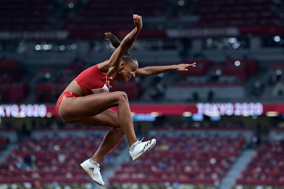 Spain's Ana Peleteiro competes in the women's triple jump qualification during the Tokyo 2020 Olympic Games at the Olympic Stadium in Tokyo on July 30, 2021. (Photo by Javier SORIANO / AFP) (Photo by JAVIER SORIANO/AFP via Getty Images)