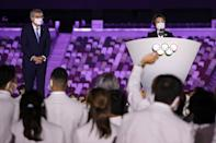 <p>Tokyo 2020 President Seiko Hashimoto gave a heartfelt, almost teary speech hoping the Olympics will offer a moment of peace. Then IOC President Thomas Bach thanks Japan for hosting the Games, and takes time to welcome the refugee athletes.</p>
