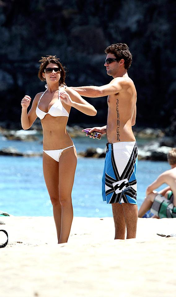 """Reality """"star"""" Brody Jenner oils up his on-again/off-again girlfriend, Cora Skinner, in Hawaii. Gros/<a href=""""http://www.x17online.com"""" target=""""new"""">X17 Online</a> - June 5, 2008"""