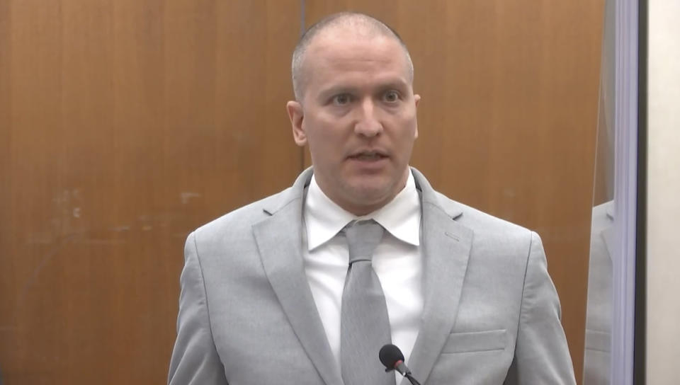FILE - In this June 25, 2021, file image taken from video, former Minneapolis police Officer Derek Chauvin addresses the court as Hennepin County Judge Peter Cahill presides over Chauvin's sentencing at the Hennepin County Courthouse in Minneapolis. A coalition of news media outlets, including The Associated Press, is asking the judge who oversaw the trial of Chauvin to release the identities of jurors who convicted him in the death of George Floyd. In a court filing Wednesday, Aug. 4, 2021, the coalition said the court's desire to protect jurors from unwanted publicity is not grounds to keep their identities sealed under law. Chauvin was found guilty of murder and manslaughter and was sentenced to 22 1/2 years. (Court TV via AP, Pool, File)