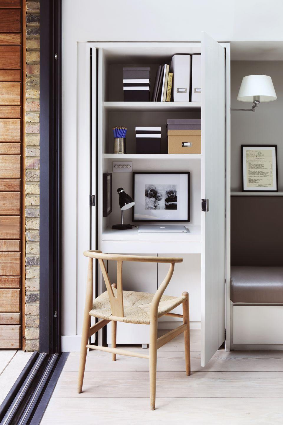 <p>Short on spare rooms to covert into an office? Condense your clothing into a capsule wardrobe to free up space so that you can transform a built-in cupboard into a small but perfectly formed workspace. Paint the interior white to keep it light, or commission an electrician to put in a spotlight to save using precious desk space for a lamp.</p>