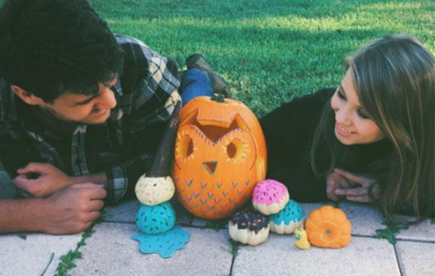 <p>Chandler, 20, and Bindi, 18, went all out for Halloween this year dressing up as 'scary farmers' and using the orange veggie to create a scary pumpkin, doughnuts, melting ice cream and a snail! What a creative duo.</p>