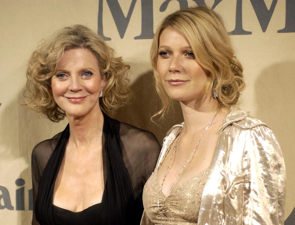 Gwyneth Paltrow, right, and her mother, Blythe Danner, pose for photographers while arriving at the Women in Film 2004 Crystal and Lucy Awards at the Century Plaza Hotel in Los Angeles on Friday, June 18, 2004. The Paltrow family was honored for their career work at the show. (AP Photo/Matt Sayles)