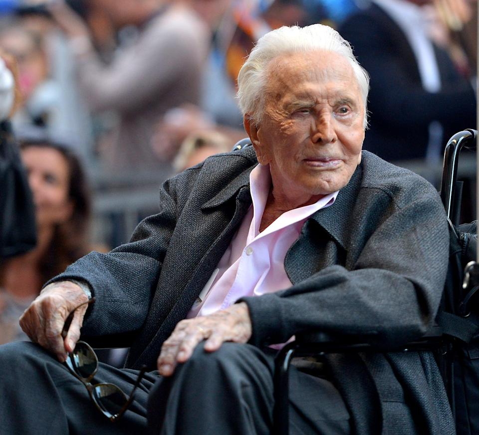 "<p>Kirk Douglas has died at the age of 103. His son <a href=""https://www.facebook.com/MichaelDouglasOfficial/posts/2801257449969053?__tn__=-R"" class=""link rapid-noclick-resp"" rel=""nofollow noopener"" target=""_blank"" data-ylk=""slk:Michael Douglas announced his death"">Michael Douglas announced his death</a> on Facebook on Feb. 5, writing ""To the world he was a legend . . . But to me and my brothers Joel and Peter he was simply Dad, to Catherine, a wonderful father-in-law, to his grandchildren and great grandchild their loving grandfather, and to his wife Anne, a wonderful husband.""</p>"