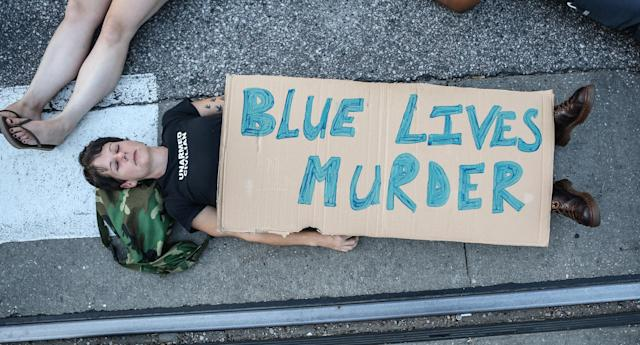 "<p>A protester participates in a ""Die-In"" during a second day of demonstrations after a not guilty verdict in the murder trial of former St. Louis police officer Jason Stockley, charged with the 2011 shooting of Anthony Lamar Smith, who was black, in St. Louis, Mo., Sept. 16, 2017. (Photo: Lawrence Bryant/Reuters) </p>"