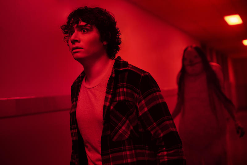 Austin Zajur is menaced in 'Scary Stories to Tell in the Dark'. (Credit: eOne)