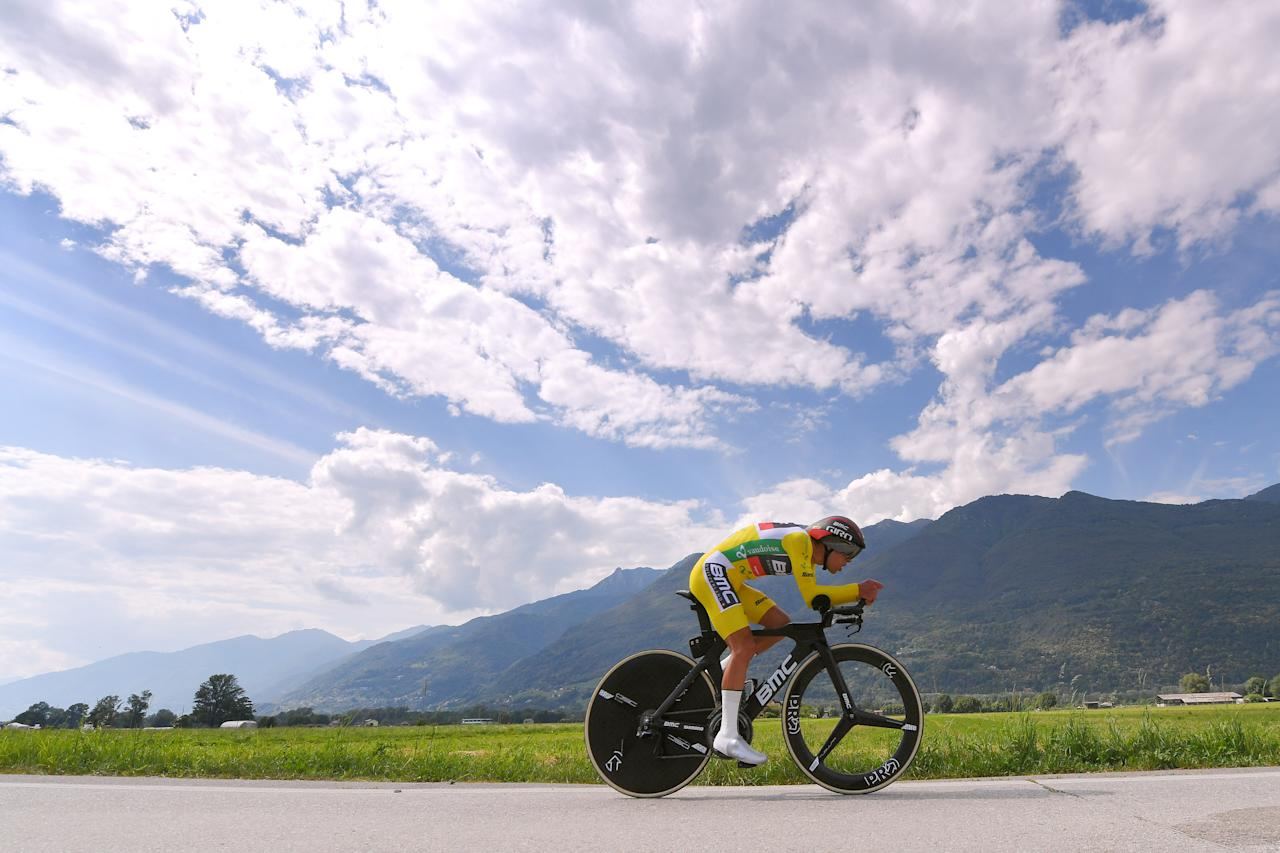 <p>Richie Porte of Australia and BMC Racing Team Yellow Leader Jersey during the 82nd Tour of Switzerland 2018, Stage 9 a 34,1km individual time trial stage from Bellinzona in Switzerland. (Tim de Waele/Getty Images) </p>