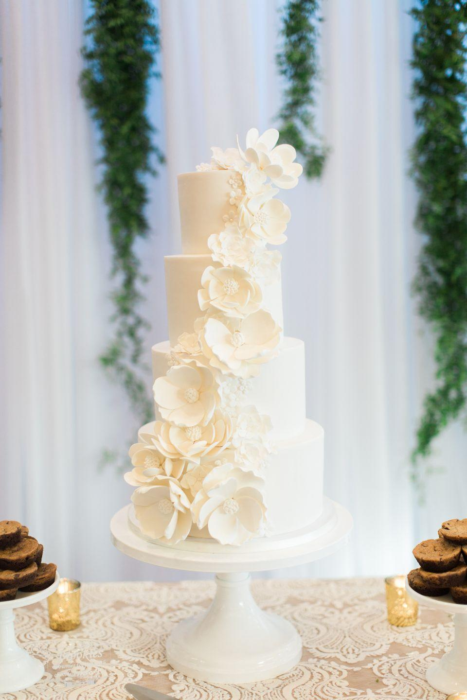 """<p>You can't get any more classic and timeless than a white wedding cake. This one stole the show at the <a href=""""http://www.weddingsbysusandunne.com/"""" rel=""""nofollow noopener"""" target=""""_blank"""" data-ylk=""""slk:Weddings by Susan Dunne"""" class=""""link rapid-noclick-resp"""">Weddings by Susan Dunne</a>-designed event.</p>"""