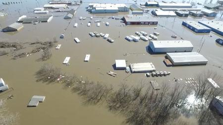 Buildings are submereged in floodwater in Bellevue, Nebraska, U.S., March 20, 2019, in this still imgage taken from social media. Bellevue (Nebraska) Police Department via REUTERS