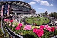 <p>The racehorses were paraded around a ring before the King's Stand Stakes began. </p>