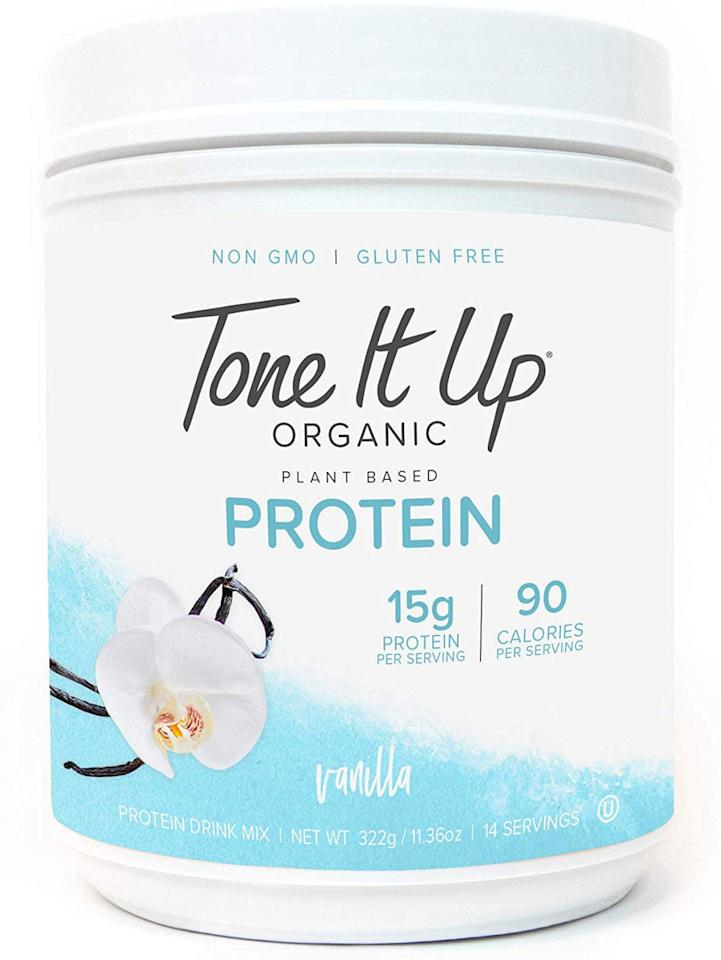 """<p>This protein powder is sweet and delicious - perfect for a smoothie or adding to oatmeal.</p> <p><strong><a href=""""https://my.toneitup.com/collections/protein-powder/products/vanilla-tone-it-up-organic-protein"""" target=""""_blank"""" class=""""ga-track"""" data-ga-category=""""Related"""" data-ga-label=""""https://my.toneitup.com/collections/protein-powder/products/vanilla-tone-it-up-organic-protein"""" data-ga-action=""""In-Line Links"""">Ingredients:</a></strong> protein blend (pea protein isolate, pumpkin seed protein, natural flavors, medium chain triglycerides, guar gum, gum acacia, sea salt, stevia leaf extract, monk fruit extract)</p> <p><strong>Serving size:</strong> 24 grams<br> <strong>Calories:</strong> 100<br> <strong>Carbs:</strong> 3 grams<br> <strong>Protein:</strong> 14 grams</p>"""
