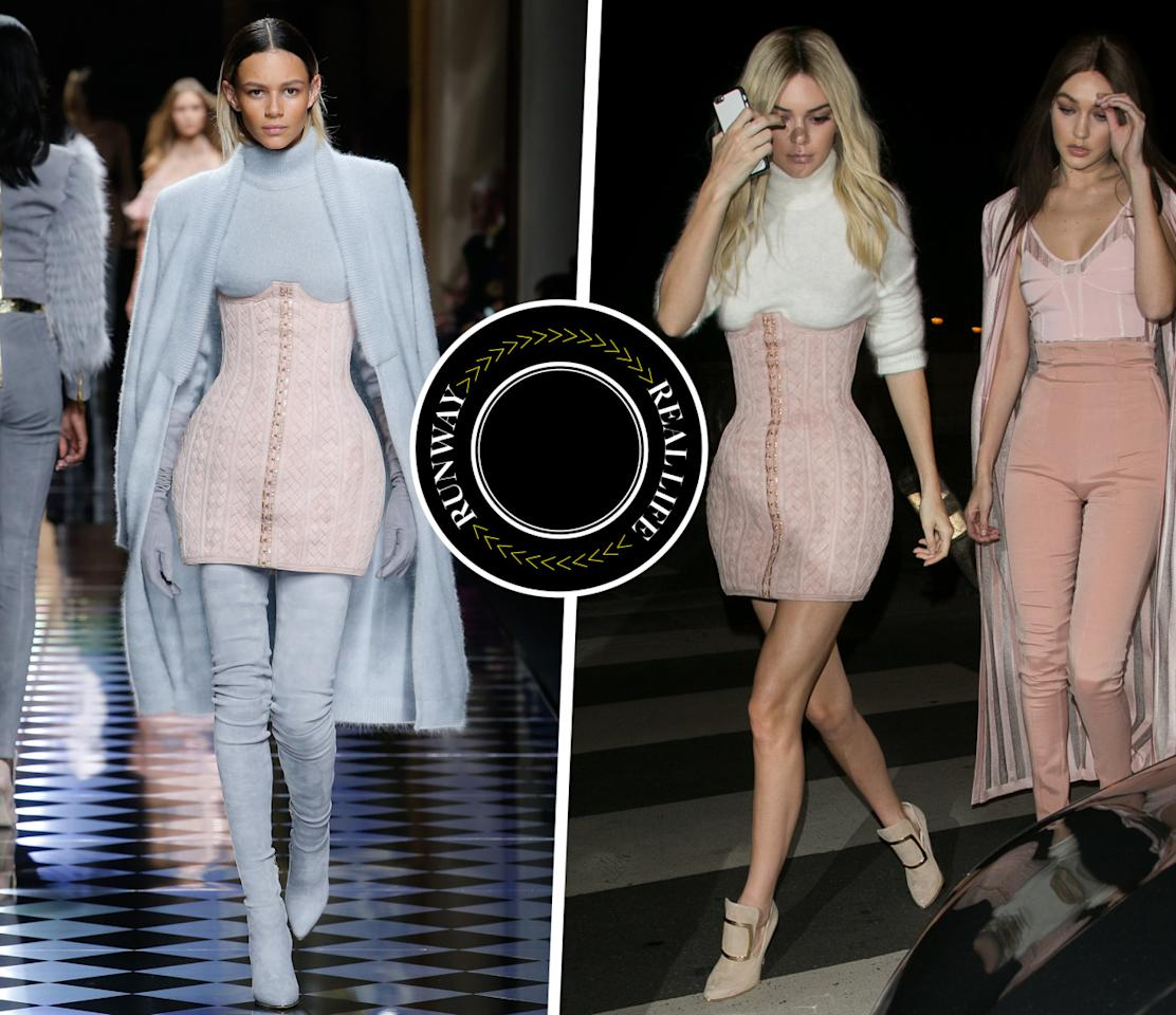 <p>Being the most in-demand model working today certainly has its perks: Just hours after walking the Balmain show in Paris, Kendall Jenner arrived to the brand's after-party in a brand new blush pink corset skirt. <i>Photo: Runway (IMAXtree) & Celebrity (Getty Images)</i></p>