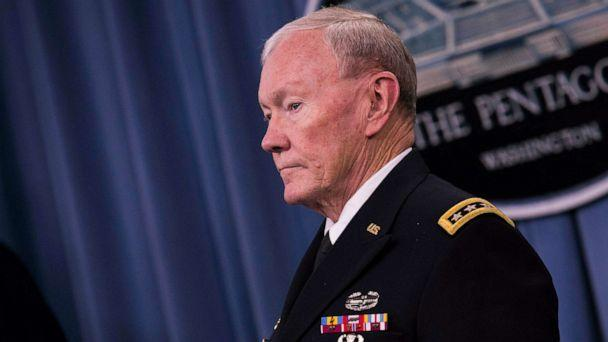 PHOTO: Chairman of the Joint Chiefs of Staff General Martin Dempsey looks on as President Barack Obama delivers remarks after meeting with members of his national security team concerning ISIS at the Pentagon in Arlington, Va., July 6, 2015. (White House Pool via Getty Images)