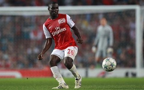 """For Emmanuel Frimpong, the parting of the ways was – typically – swift and explosive. Having been left out of Arsenal's squad for a League Cup game against Chelsea in October 2013, Frimpong tweeted: """"Sometimes I wish I was white and English."""" Arsene Wenger was infuriated at the insinuation of racism, and three months later Frimpong was sold to Barnsley. It brought to an end a 13-year association with Arsenal that yielded just 16 first-team appearances but spawned innumerable quotes, memes and GIFs. For one of the Premier League's first 'social-media footballers', it was appropriate a tweet hastened the end. He describes it as """"my only regret in football"""". Four years on, the one-time Arsenal cult hero insists he has mellowed, and with his former team facing CSKA Moscow in the Europa League on Thursday, he offers a surprising reference point for advice on Russian football. Frimpong, now 26, spent three years in the Russian league after leaving Arsenal – first with Ufa and then at Arsenal Tula – and speaks fondly of his time there. Now back home in Ghana with his girlfriend Esther and baby daughter Emmanuella – out of work since January after suffering a hamstring injury while at Cypriot club Ermis Aradippou – Frimpong revealed all about his time at Arsenal in an entertaining interview with Telegraph Sport. Far from the most technically gifted player, Frimpong became the darling of the Emirates crowd when he broke into the first team seven years ago through his endearingly unfiltered personality and always amusing social media presence. Highlights include calling Piers Morgan a """"wasteman"""" on Twitter and mocking up a picture of Nicklas Bendtner winning the Ballon d'Or. Frimpong even had his own catchphrase: """"Stay Dench or get Frimponged"""". Frimpong made just 16 first-team appearances during his time at Arsenal Credit: PA """"Dench"""" – now included in the MacMillan English dictionary and defined as """"extremely attractive, fashionable, impressive"""" – was the brainchild of Frimpo"""