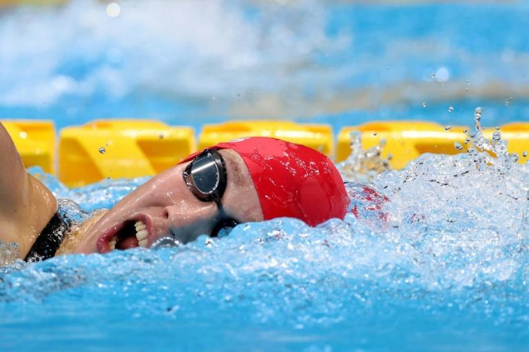 Britain's Louise Fiddes swims in the S14 category for athletes with an intellectual impairment (AFP/Behrouz MEHRI)
