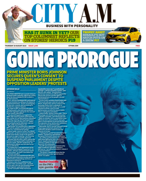 """City AM said the PM was """"going prorogue"""" and wrote of how his decision led to huge protests. (Twitter)"""