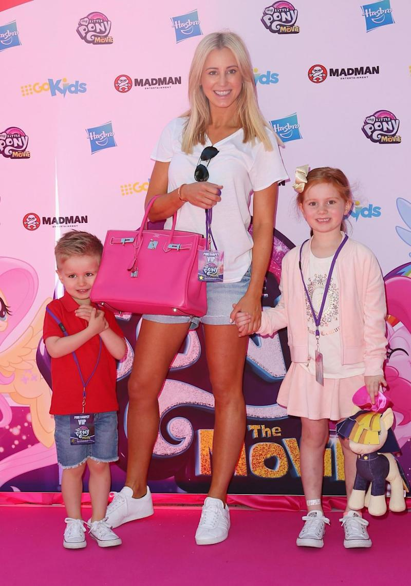 Roxy has two gorgeous children, Pixie and Hunter, with husband Oliver. She is here with her kids at the My Little Pony movie Sydney premiere last month. Source: Getty