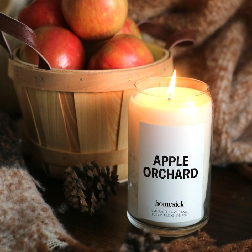 "<h2><a href=""https://homesick.com/products/apple-orchard?"" rel=""nofollow noopener"" target=""_blank"" data-ylk=""slk:Apple Orchard Candle"" class=""link rapid-noclick-resp"">Apple Orchard Candle</a></h2><br>Homesick makes candles infused with nostalgia, hence the brand name. If you're yearning for the fall feelings of youth, opt for the apple orchard candle. Fans love this scent, including one happy reviewer who exclaimed, ""I love apples so when this came out I had to buy it. You nailed it! Smells just like your slicing the sweetest, crispest apples. A fresh and light scent that lingers even after you blow it out.""<br><br><strong>Homesick Candles</strong> Apple Orchard Candle, $, available at <a href=""https://go.skimresources.com/?id=30283X879131&url=https%3A%2F%2Fhomesick.com%2Fproducts%2Fapple-orchard%3F"" rel=""nofollow noopener"" target=""_blank"" data-ylk=""slk:Homesick Candles"" class=""link rapid-noclick-resp"">Homesick Candles</a>"