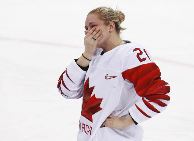 <p>Haley Irwin (21), of Canada, reacts after losing to the United States in the women's gold medal hockey game at the 2018 Winter Olympics in Gangneung, South Korea, Thursday, Feb. 22, 2018. (AP Photo/Jae C. Hong) </p>