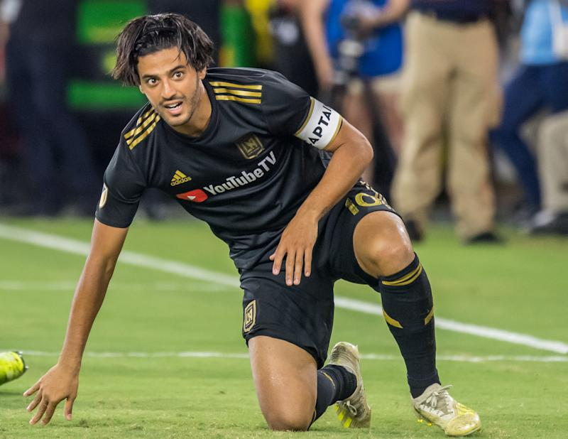 LOS ANGELES, CA - AUGUST 25: Carlos Vela #10 of Los Angeles FC during Los Angeles FC's MLS match against Los Angeles Galaxy at the Banc of California Stadium on August 25, 2019 in Los Angeles, California. The match ended in a 3-3 draw. (Photo by Shaun Clark/Getty Images)