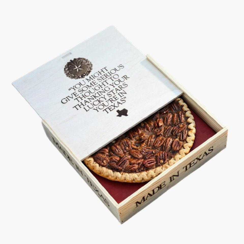 """This is not the slogan of the Goode Company but it might as well be: """"Don't mess with Texas or our pecan pie recipe."""" $42, Goode Company. <a href=""""https://shop.goodecompany.com/brazos-bottom-pecan-pie-in-a-wooden-box/"""" rel=""""nofollow noopener"""" target=""""_blank"""" data-ylk=""""slk:Get it now!"""" class=""""link rapid-noclick-resp"""">Get it now!</a>"""