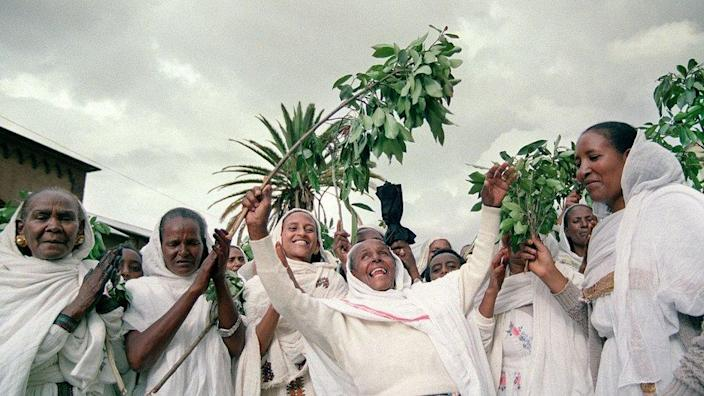 A group of women took to the street, singing and dancing on April 25, 1993 in the port of Massawa on the Red Sea at the end of a three-day referendum that resulted in near-unanimous approval, making Eritrea independent from Ethiopia after 30 years - the ancient civil war.