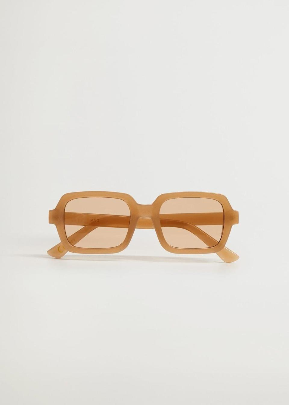 <p>We love the colorful look of these <span>Mango Squared Frame Sunglasses</span> ($30).</p>