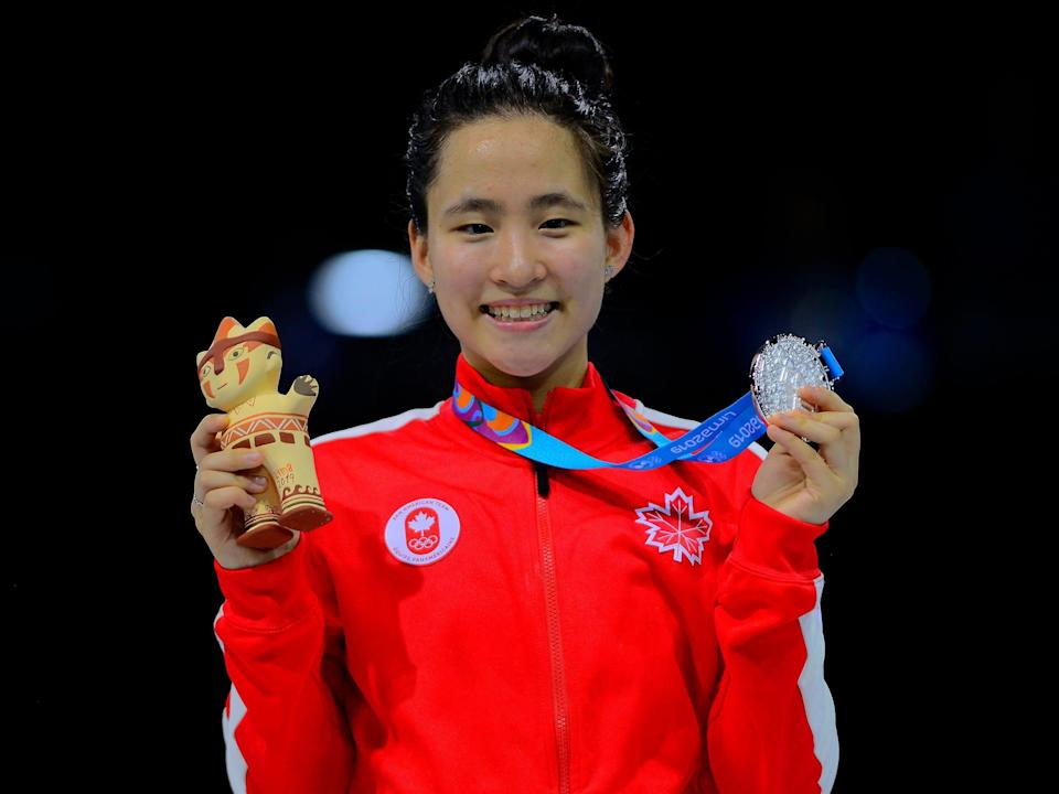 fencer Jessica Guo winning silver medal during the Women's Fencing Individual Foil of Lima 2019 Pan American Games