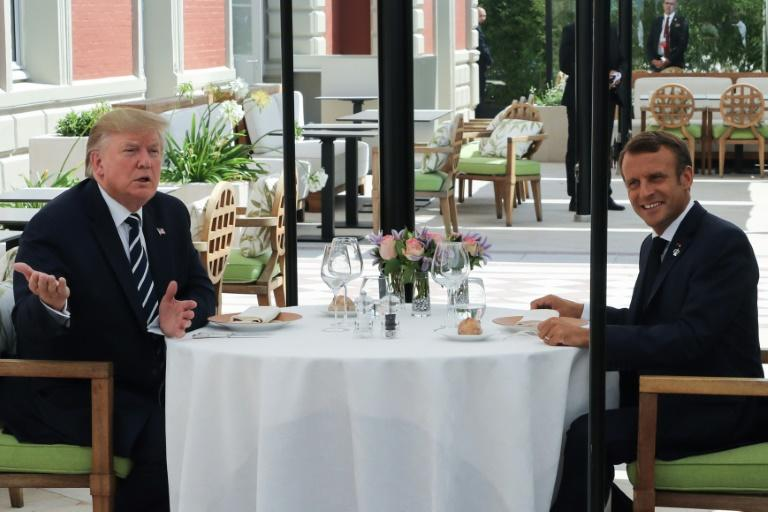 French President Emmanuel Macron surprised Donald Trump with an unscheduled lunch after the US leader's arrival