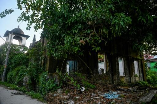 The ruins of a mosque in Kyaukphyu, Rakhine state, where mobs attacked Muslim homes and residents in 2012