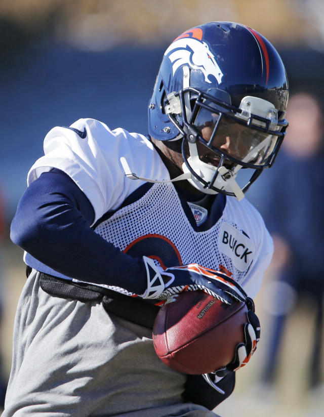 Denver Broncos cornerback Champ Bailey catches the football during NFL football practice at the team's training facility in Englewood, Colo., on Friday, Jan. 24, 2014. The Broncos are scheduled to play the Seattle Seahawks in Super Bowl XLVIII on Feb. 2. (AP Photo/Ed Andrieski)