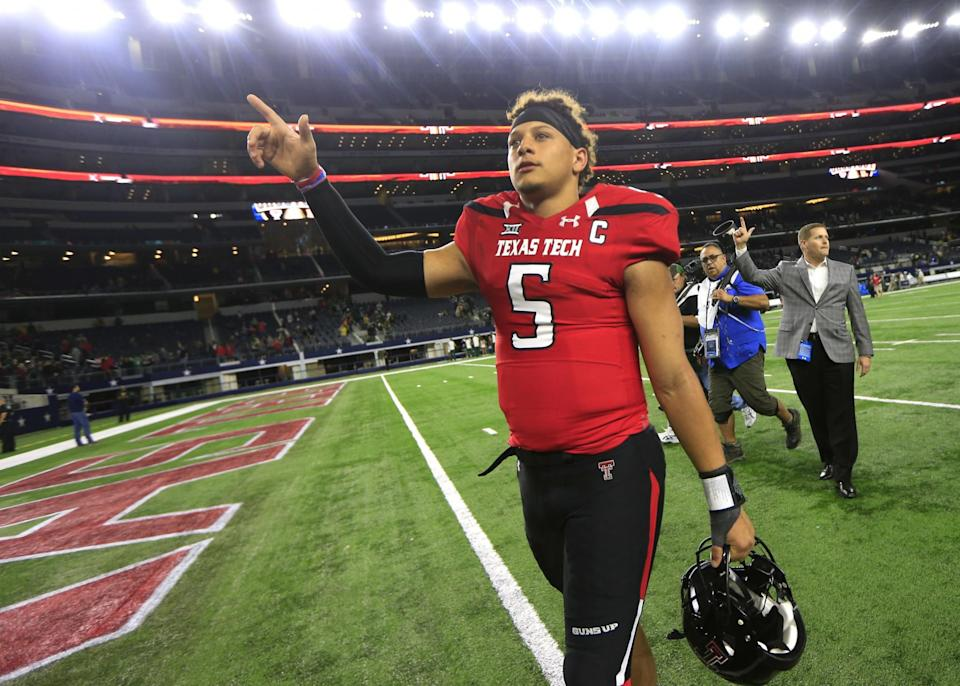 Don't overlook Texas Tech QB Patrick Mahomes slipping into Round 1. (AP)