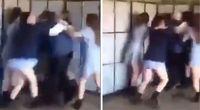 The video shows a gang of four Melbourne schoolgirls beating up a fellow student. Source: Facebook/Most Wanted Lads