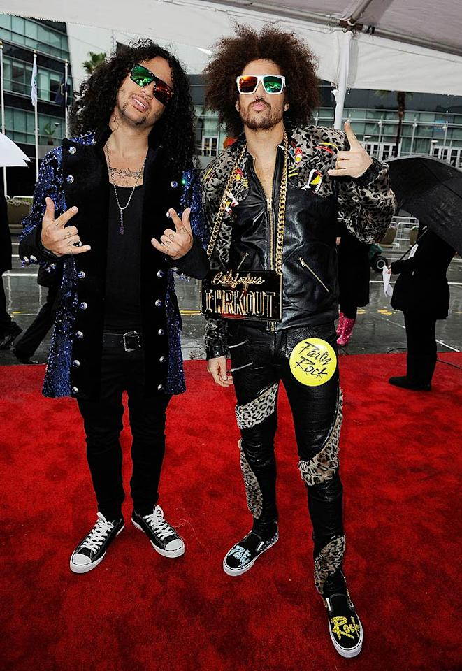 LMFAO's SkyBlu and Redfoo arrive at the 2011 American Music Awards held at the Nokia Theatre L.A. LIVE. (11/20/2011)
