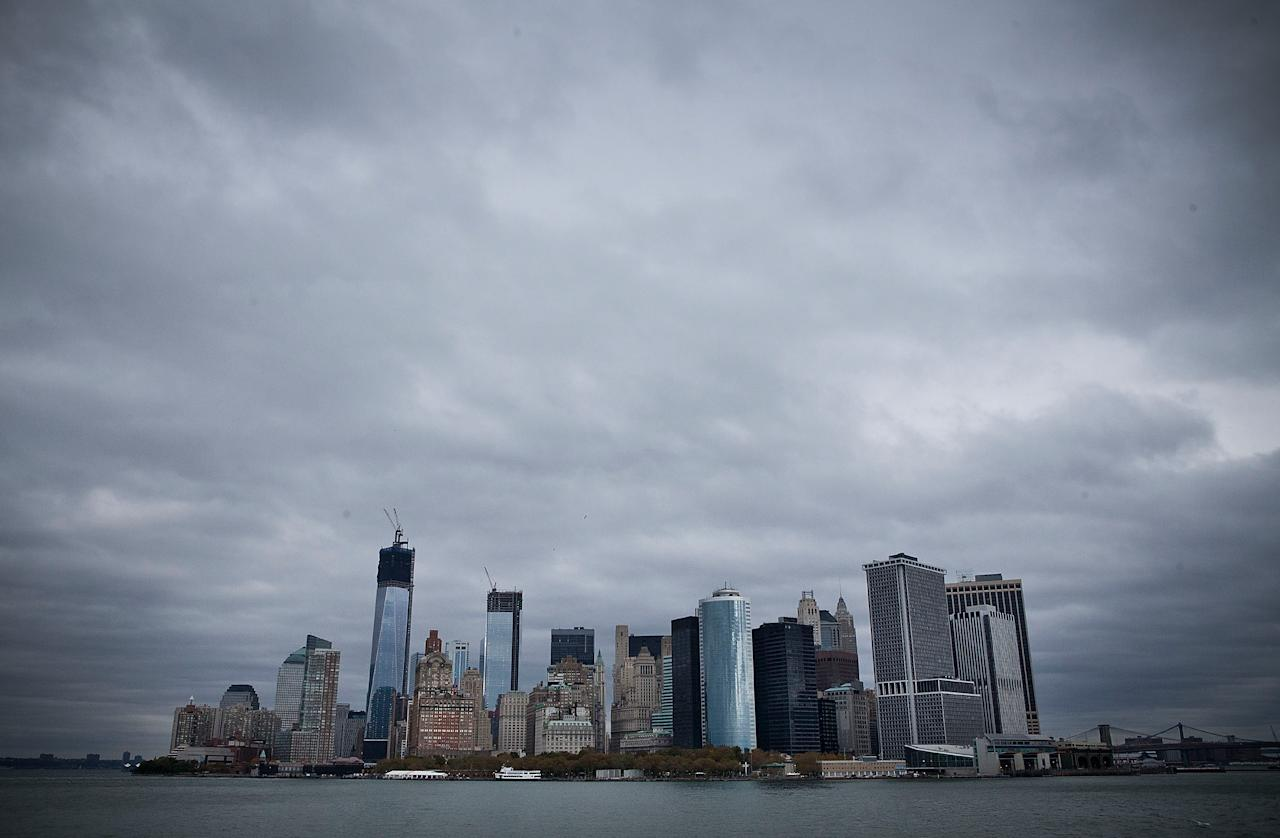 NEW YORK, NY - OCTOBER 28:  The skyline of lower Manhattan is seen from the Staten Island Ferry prior to the arrival of Hurricane Sandy on October 28, 2012 in New York City.  Sandy, which has already claimed over 50 lives in the Caribbean, is predicted to bring heavy winds and floodwaters as the mid-atlantic region prepares for the damage.  (Photo by Andrew Burton/Getty Images)