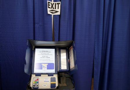 A voting booth is seen at a polling station during early voting in Chicago