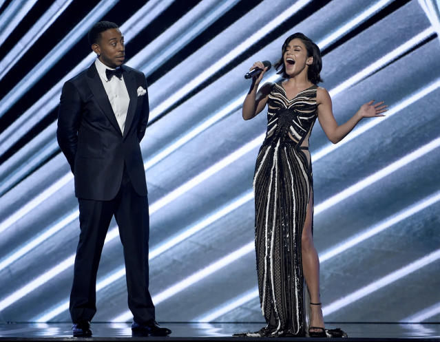 <p>Hosts Ludacris, left, and Vanessa Hudgens speak at the Billboard Music Awards at the T-Mobile Arena on Sunday, May 21, 2017, in Las Vegas. (Photo by Chris Pizzello/Invision/AP) </p>