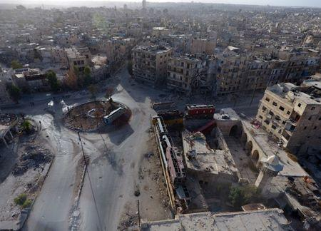 A general view taken with a drone shows the damage in the rebel-held Bab al-Hadid neighbourhood of Aleppo