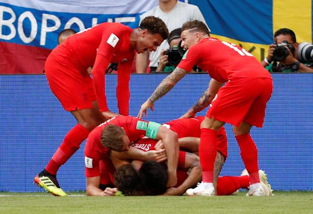 <p>England's Harry Maguire celebrates scoring the first goal </p>