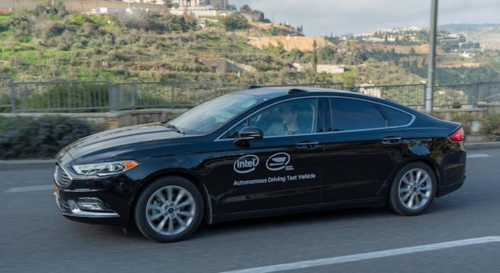 A Ford Fusion outfitted with Mobileye's self-driving technology.